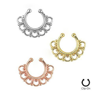 2015 NEW Fake Nose Ring Clip On Fake Septum Clicker Non Piercing Nose Ring Hoop Silver