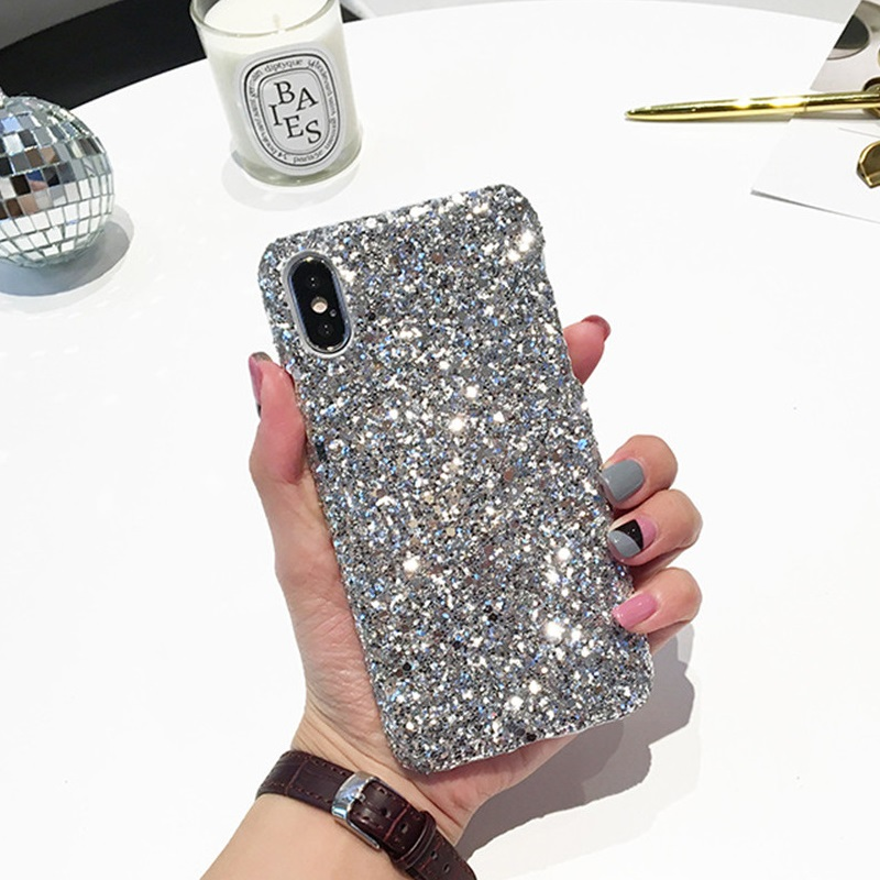 Glitter <font><b>Hard</b></font> Cover Für <font><b>iPhone</b></font> 8 Plus 11 Pro Glänzende Bling Fall Für <font><b>iPhone</b></font> XS Max XR 7 8 6 6s Plus 10 5s Shell Telefon Fällen EEMIA image