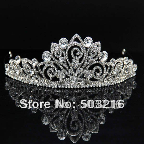 Free Shipping High Quality Clear Crystal Silver Plated Wholesale Fashion Crystal Jewelry Wedding Crown Tiaras