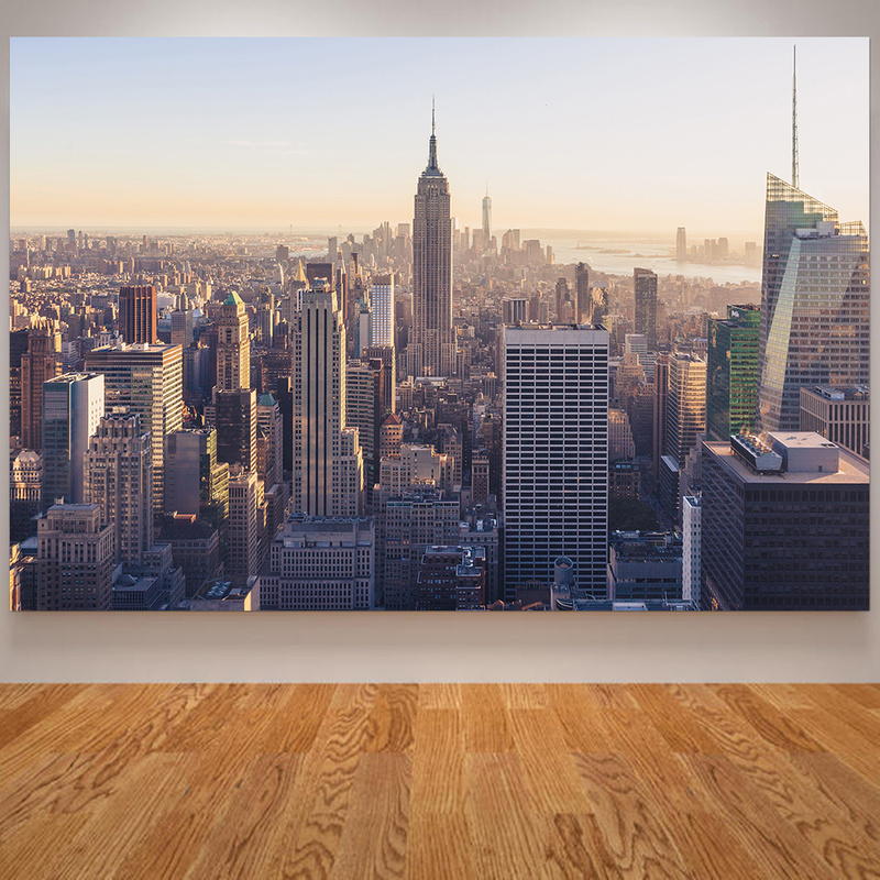 New York Skyscrapers Posters And Prints Cityscape Wall Art Pictures Home Decoration Maison Night Building Wall Painting