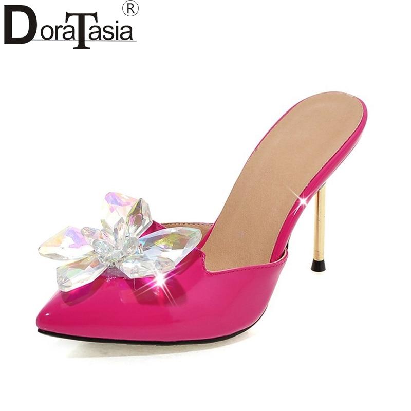 DoraTasia 2018 Big Size 32-43 Crystal Fashion Brand Woman Shoes Women Sexy Thin High Heels Pointed Toe Wedding Mules Pumps Woman цена и фото