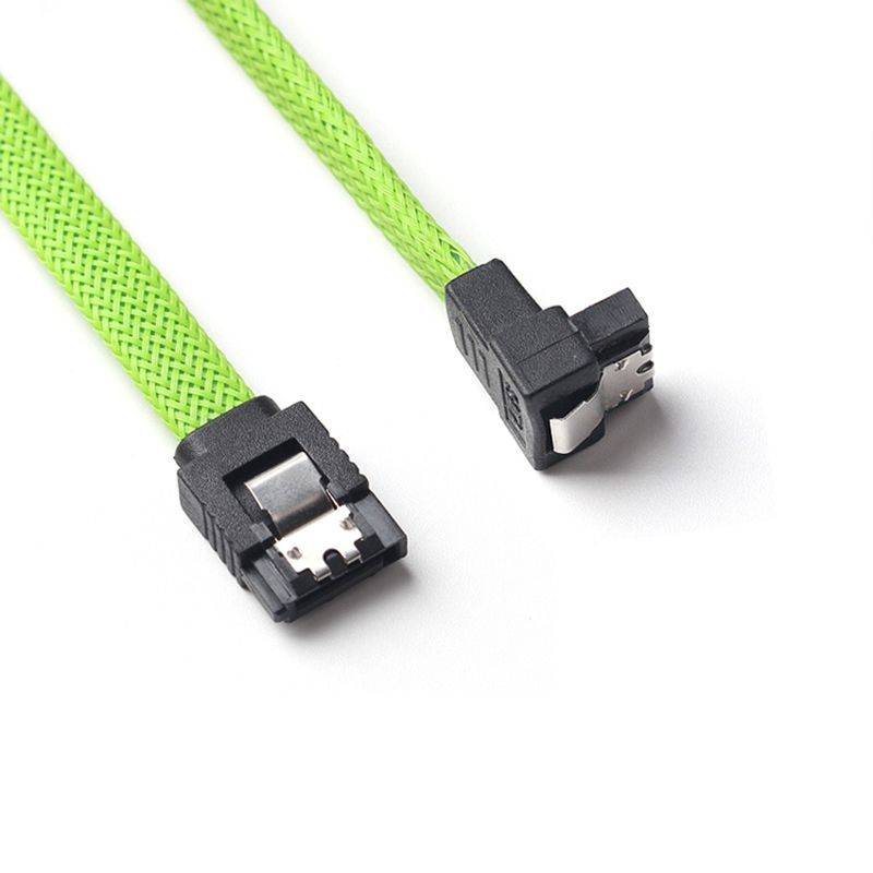 50CM SATA 3.0 III SATA3 7pin Data Cable Right Angle 6Gb/s SSD Cables HDD Hard Disk Data Cord With Nylon Sleeved(Green)