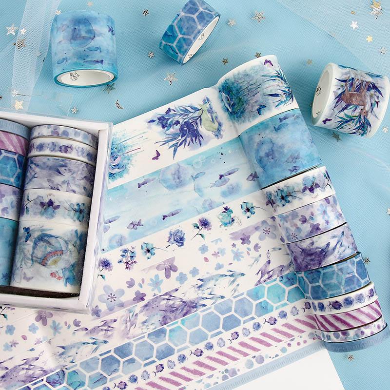 10Pcs/Set Cute Plant Leaves Washi Tape Kawaii Flower Masking Tape Whale Decorative Tape For Sticker Scrapbooking DIY Photo Album 2