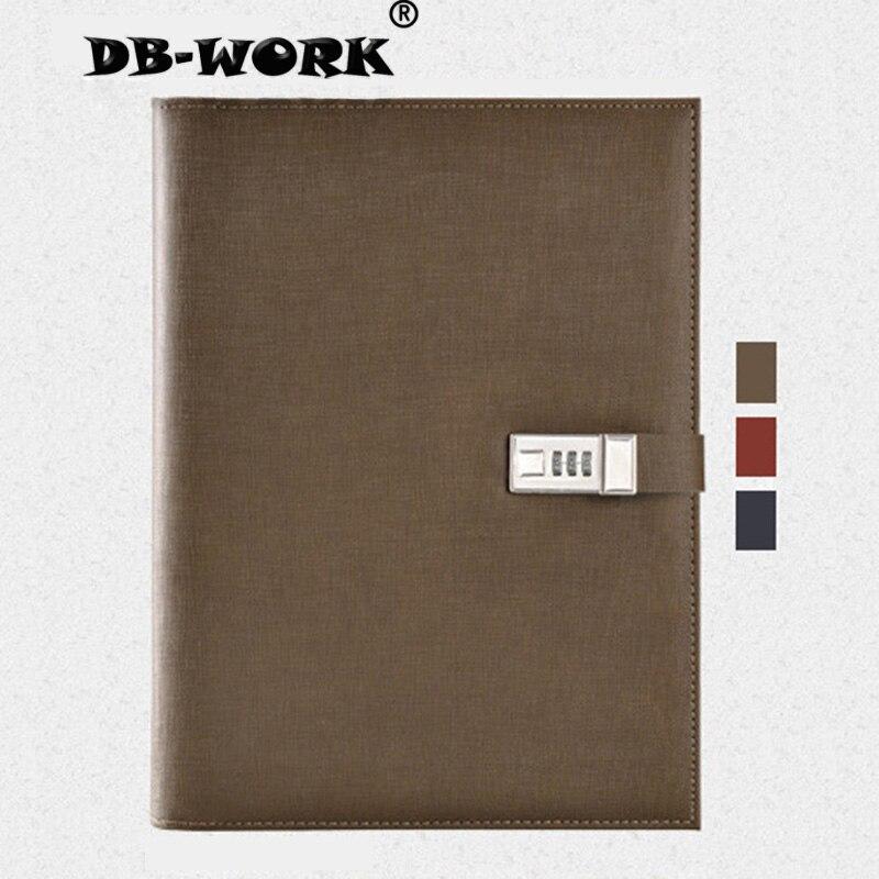 A4 Business Padfoliob combinaison serrure cahier multifonctionnel gestionnaire clip envoyer la calculatrice et le stylo