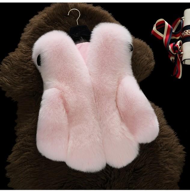 Colete De Pele De bebê Novo Da Menina Roupas de Pele De Coelho Imitação de Pele de Raposa casaco Crianças Quentes Colete Crianças Colete Jacke Inverno Do Falso Casaco De Pele