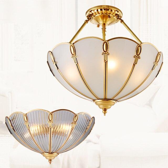 European Led Pendant Light American All Copper Lamp Study Bedroom Home Circular Modern