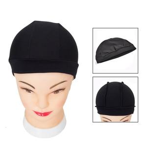 Image 2 - 12pcs/lot Dome Cap Elastic Stocking Hairnets Wigs Liner Caps Weave Cap Invisible Hair Net Nylon Stretch Wig Net Cap Black Color