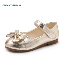 Chldren Shoes Girls Shoes 2018 Spring and Autumn Fashion Bow Flat Princess  Shoes PU Leather Kids Casual Performance Shoes Gold 06f274c40e65