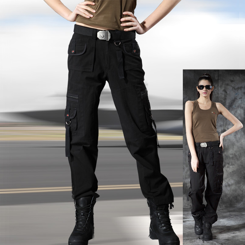 New Womens Ladies Black Slim Fitted Stretch Combat Pants ...  |Black Cargo Pants For Girls
