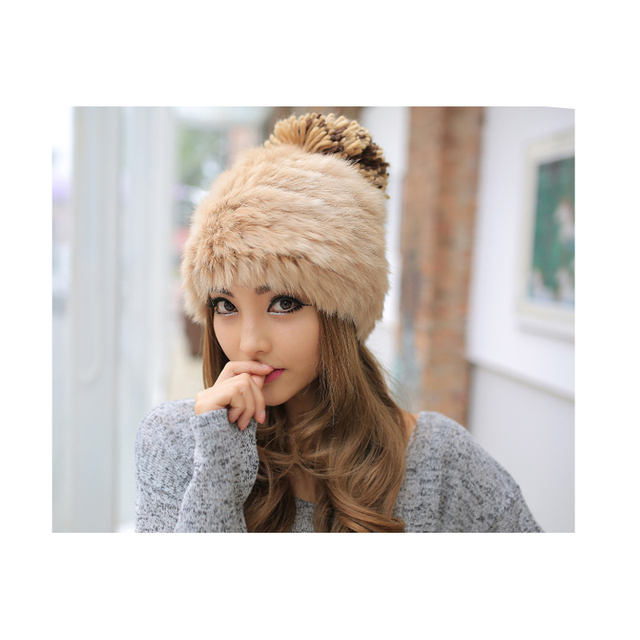 100% Fur beanies Knitted 2015 new caps wholesale fashion crochet Hats for women Lady's Delicate rabbit fur