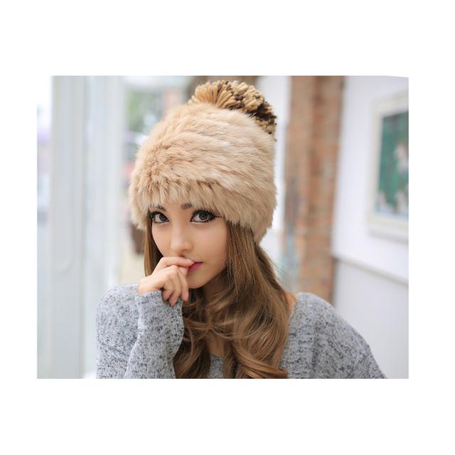 100% gorros de pele de malha 2015 novas tampas de atacado moda crochet chapéus para mulheres senhora delicada pele de coelho