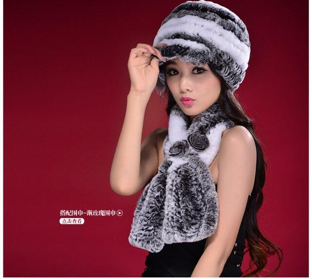 Nueva Llegada 2016 Mujer Real Rex Rabbit Fur Sombrero de La Manera Hizo Punto Ocasional Cap Invierno Cálido sombrero Gorros Para Las Mujeres