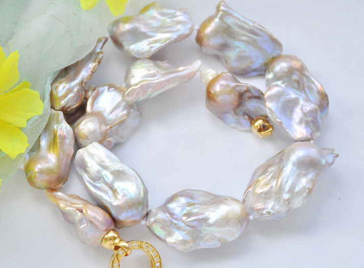 FREE shippingz6814 38mm lavender baroque KESHI REBORN PEARL NECKLACE 17inch