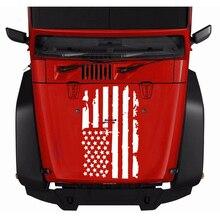 2 boyutları Araba Hood Kapak Sticker ABD Bayrağı Çıkartmaları Için Jeep Wrangler Oto Dekorasyon Vinil Dış Stil Araba Aksesuarlar...