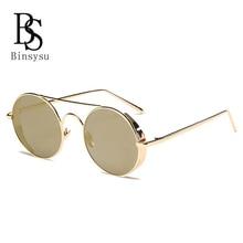 2017Gothic Steampunk Mens women Sunglasses Coating Mirrored Sunglasses Round Circle Sun glasses oculos Vintage Gafas Masculino