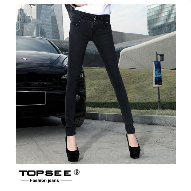 ФОТО 2016 New Women Black Jeans Pencil Pants Fashion Slim Casual High Quality Trouser Denim Pants c3286