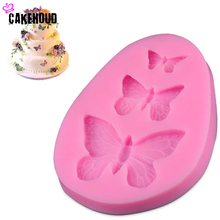 3 Holes Butterfly DIY Fondant Cake Mold Baking Cupcake Decorating Tools Silicone Chocolate Pudding Mould Kitchen Accessories