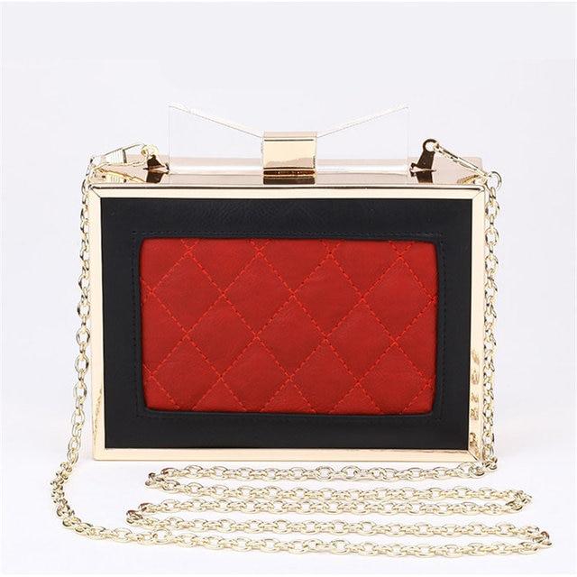 2015 New Arrival Acrylic Bow Clutch Bag Day Storage Box Clutch Bags Women Handbag Brand Designer Transparent Chain Women Wallets