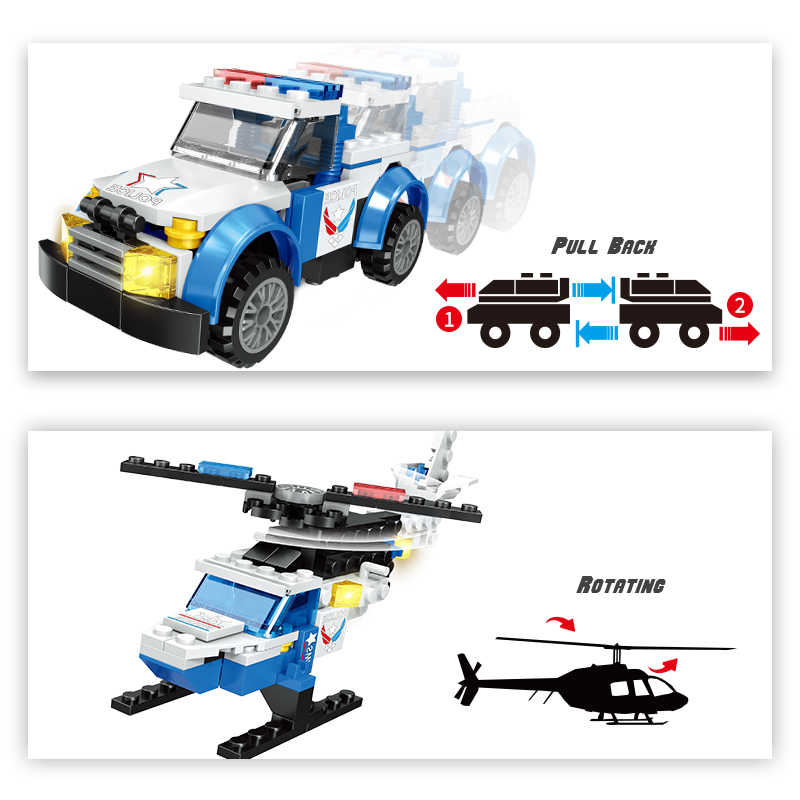 New 2 in 1 Police Building Blocks Compatible Legoing Technic City Police Helicopter Pull Back Car Education Toys for Children
