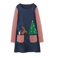 Jumping meter/новые рождественские платья; платье для маленьких девочек; хлопковые детские платья с длинными рукавами и аппликацией для девочек; ...