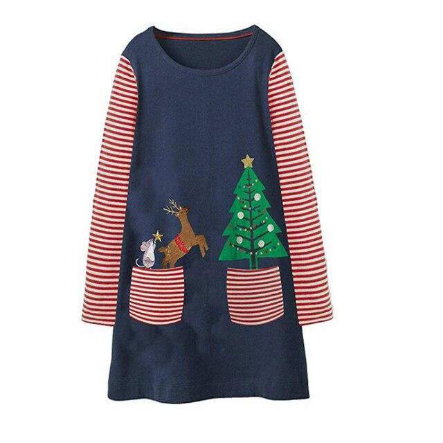 3e0bc25c2 Saltar metros nuevo Navidad vestidos bebé vestido de las niñas de algodón  de manga larga de los niños vestidos de ropa de niña vestido de la Navidad