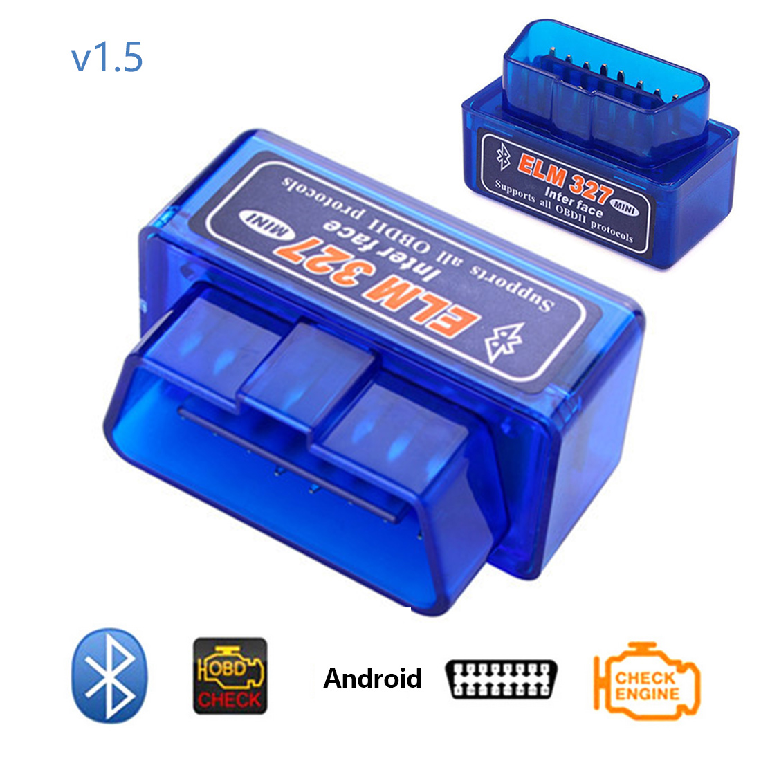 Dewtreetali Car Diagnostic Tool OBD2 V1.5 Bluetooth Mini Elm <font><b>327</b></font> V 1.5 OBD <font><b>2</b></font> Interface Auto Code Scanner OBDII Elm327 Adapter image