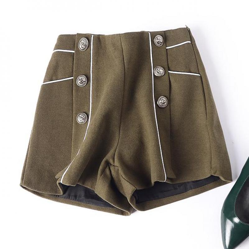Winter Fall Fashion Women High Waist Patchwork Double Breasted Wool Shorts , 2018 Slim Autumn Army Green Woolen Shorts For Woman