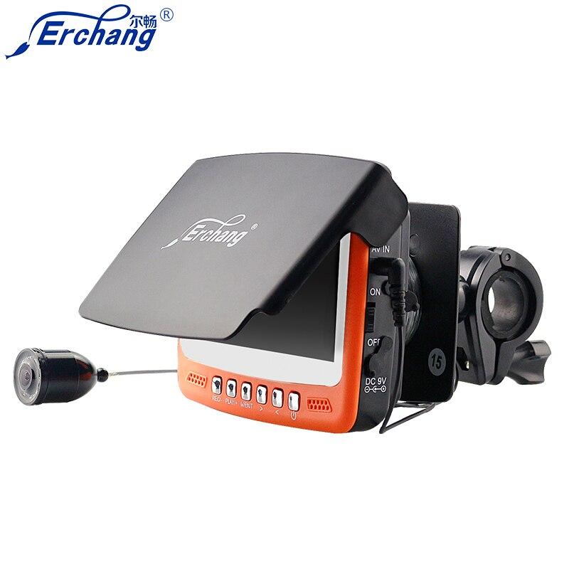 Erchang 1000TVL Underwater Fishing Camera Fishfinder Camera 4.3 LCD Monitor Infrared Fish Finder Sunvisor Free Shipping free shipping boblov 15m 7 lcd 1000tvl fish finder infrared fishing camera dvr recorder ip68