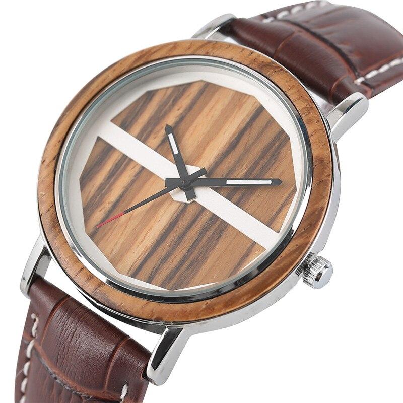Wristwatch-Alloy Male Watches Wooden Quartz Dial Best-Gift Dashion Genuine-Leather-Band