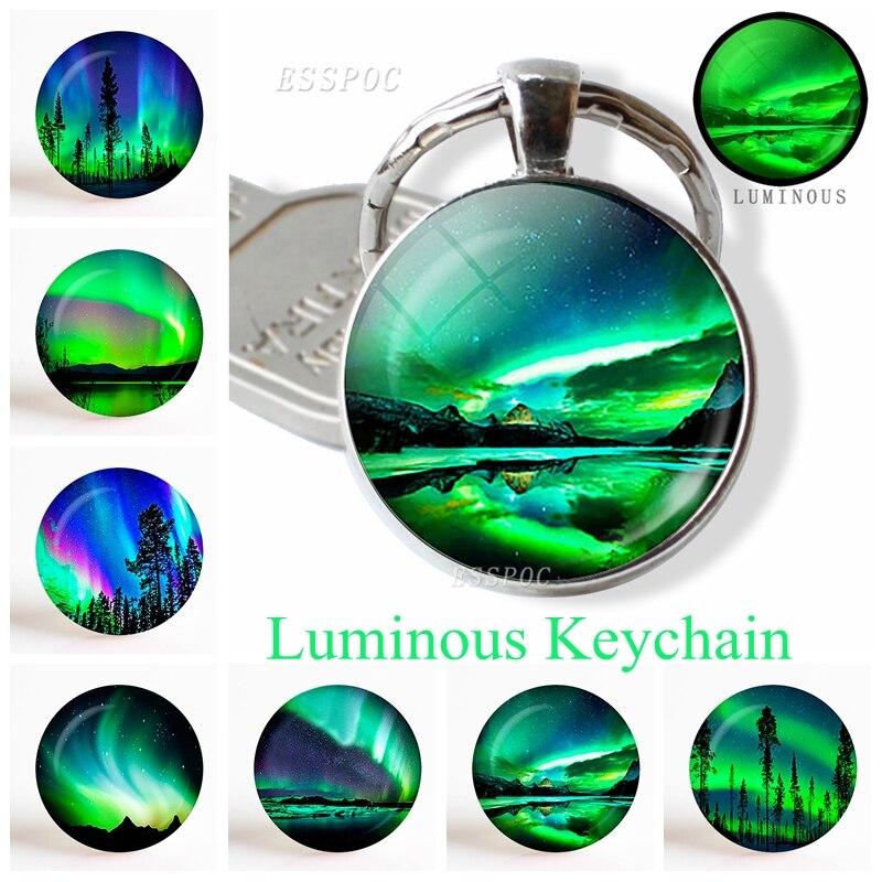 Northern Lights Aurora Photo Round Keychain Luminous Glass Cabochon Jewelry Handmade Supply For Pendant Fashion Key Chain Gift