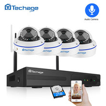 Techage 4CH 1080P اللاسلكية CCTV نظام الكاميرا الأمنية 2.0MP NVR قبة داخلي واي فاي كاميرا IP الأشعة تحت الحمراء ليلة P2P مجموعة مراقبة الفيديو