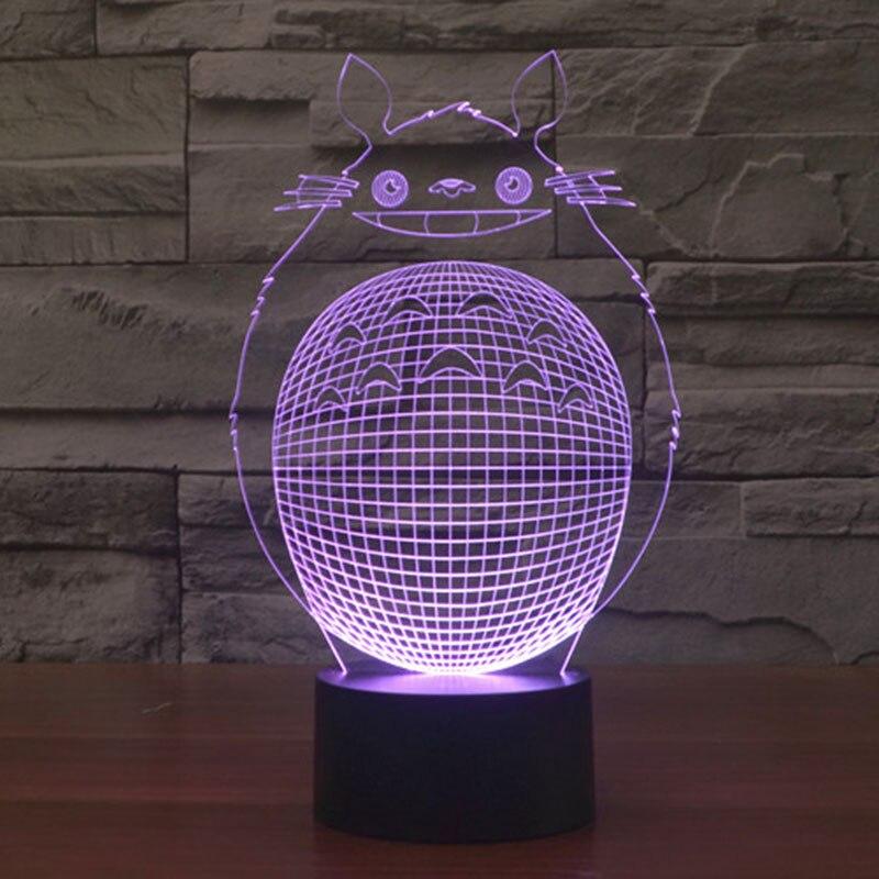 N 3D Touch Управление ночник Цвет Изменение светодиодный настольная лампа Тоторо Lampara для детей Спальня украшения светодиодный освещения