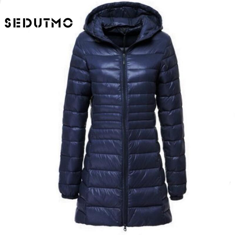 SEDUTMO 2018 Spring Ultra Light Womens Down Jackets Plus Size 6XL Duck Down Coat Long Puffer Jacket Thin Hooded Coat ED123