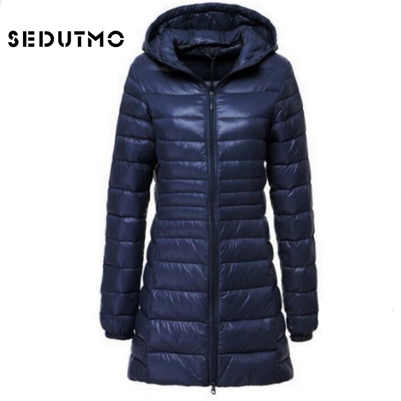 SEDUTMO 2018 Spring Ultra Light Womens   Down   Jackets Plus Size 6XL Duck   Down     Coat   Long Puffer Jacket Thin Hooded   Coat   ED123