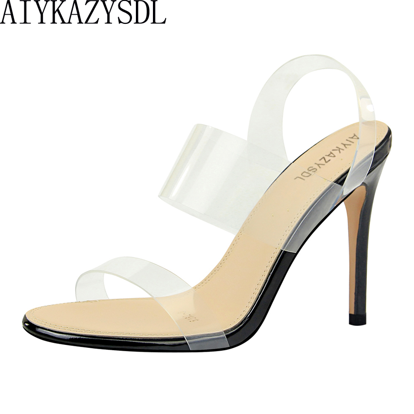 AIYKAZYSDL Clear Sandals Jelly Stilettos Thin-Heels Solid-Shoes Crystal Basic Transparent
