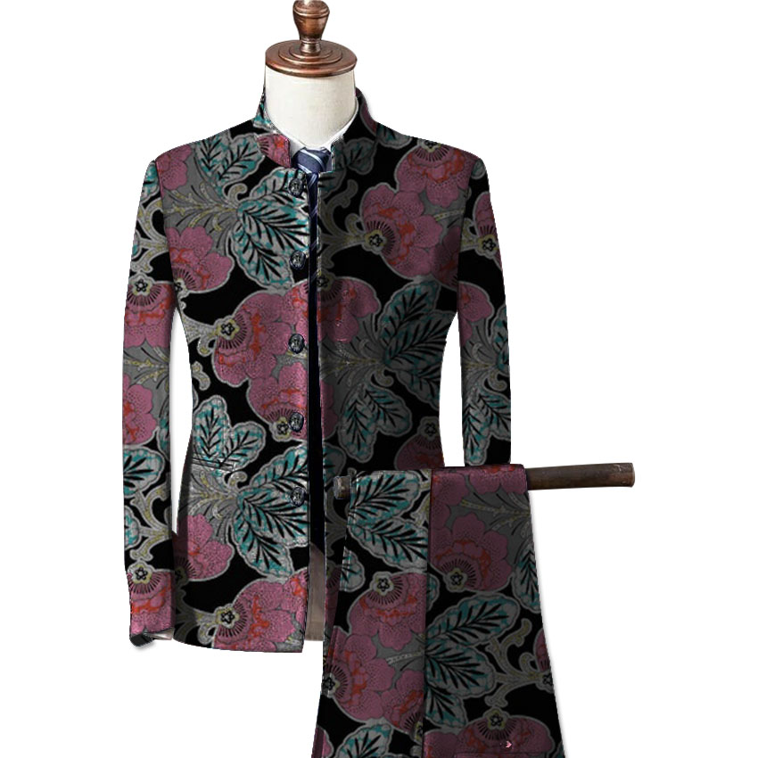 African fashion mens formal wear blazers printed dashiki suit jacket and pants set customize prints africa clothing 4