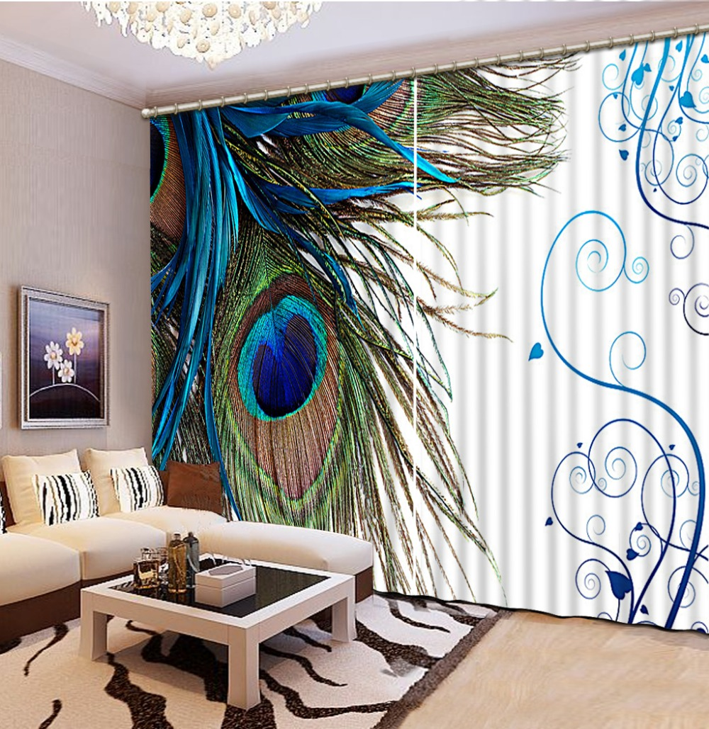 Fashion 3d home decor beautiful peacock custom curtain for Home decorations peacock