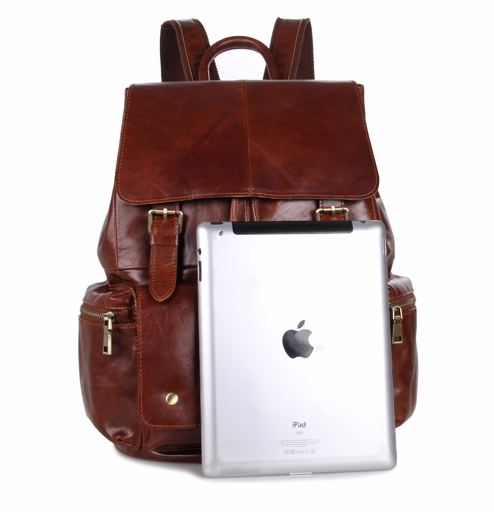 Augus Imported Top Layer Cow Leather Shoulder Bag Classic Urban Backpack For Teenager Boys And Girls Fashional Bag 7249B/7249C