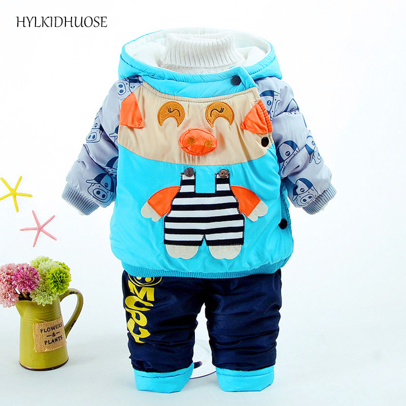 HYLKIDHUOSE 2017 Infant/Newborn Winter Clothes Sets Baby Girls Boys Suits Hooded Thick Coats+Pants Warm Children Kids Suits toddler girls hello kitty clothes set winter thick warm clothes plus velvet coat pants rabbi kids infant sport suits w133