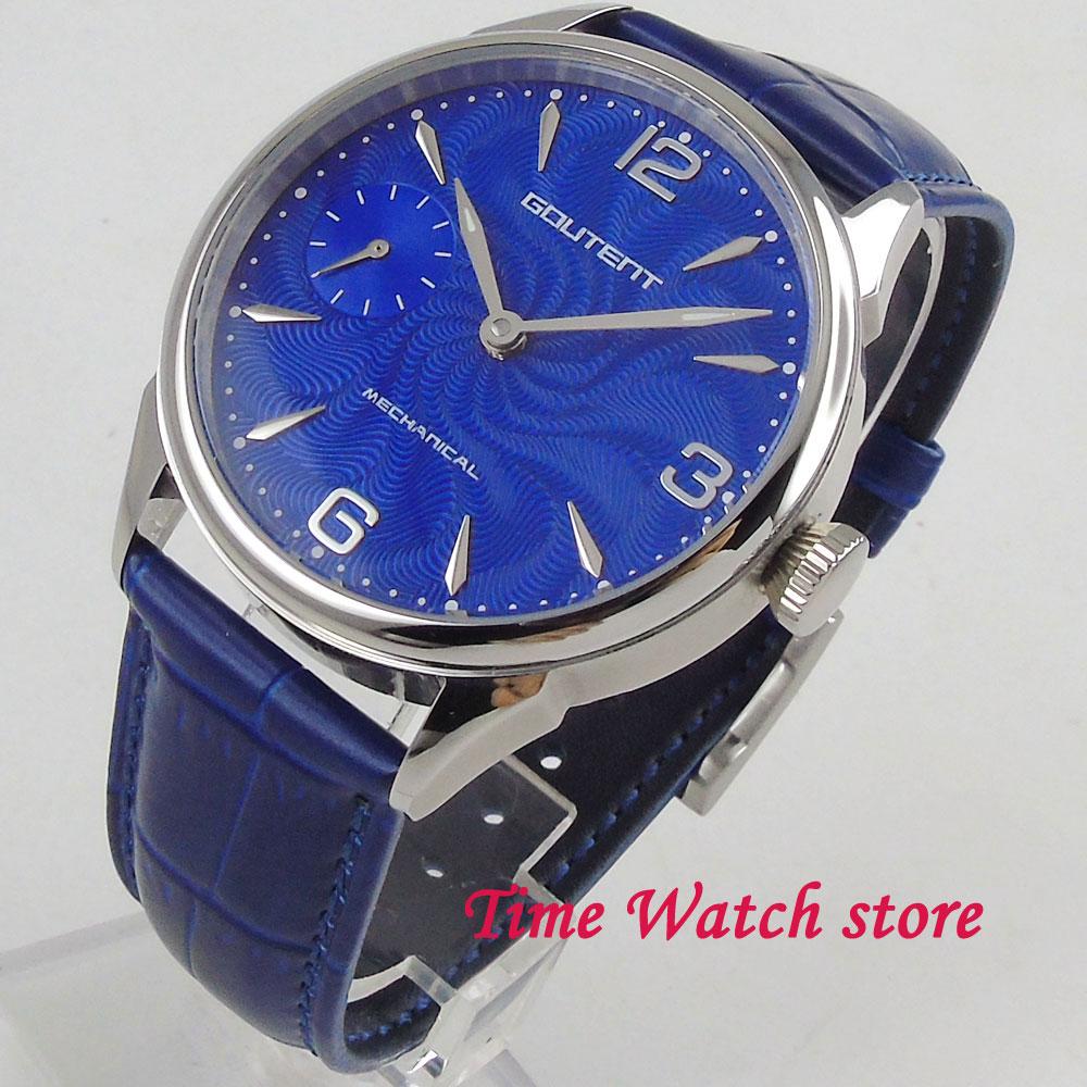 цена Classic 42mm men's watch special blue dial silver marks Vintage 17 jewels Mechanical 6497 Hand Winding movement 2004 онлайн в 2017 году