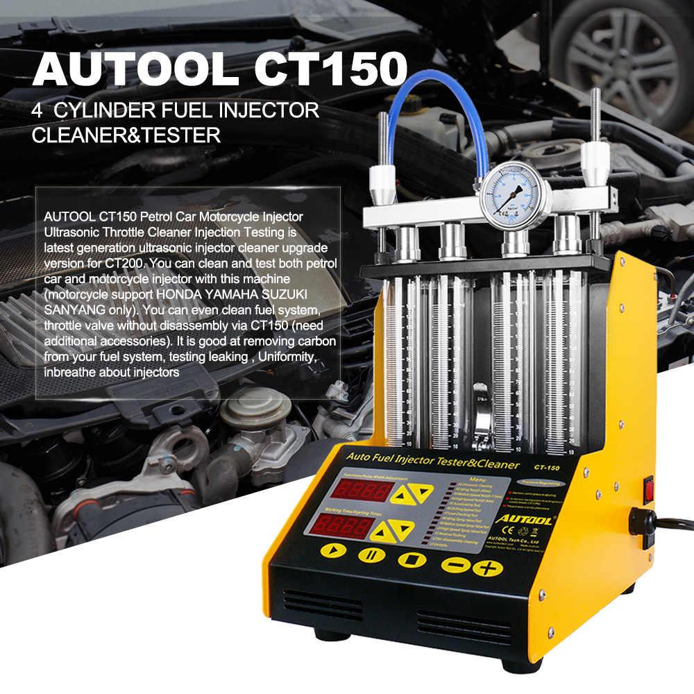 Autool CT150 Mobil Injector Tester Mesin Pembersih Ultrasonik Auto Injeksi Bahan Bakar Nozzle Cleaner untuk Kendaraan 4 Silinder 110/220V