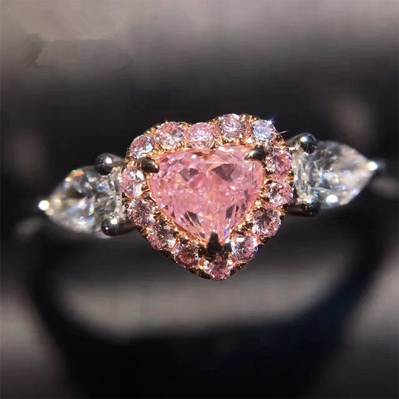 Factory Direct Sale Gems Pink CZ Silver Ring Size 6 7 8 9 10 Fashion Jewelry Gift Women Wholesale