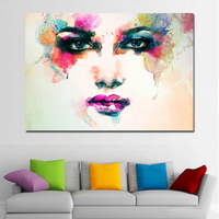1 Piece Watercolor Face Canvas Painting Pink Eyes And Mouth Abstract Painting Art Vintage Posters Photos Home Decor No Frame
