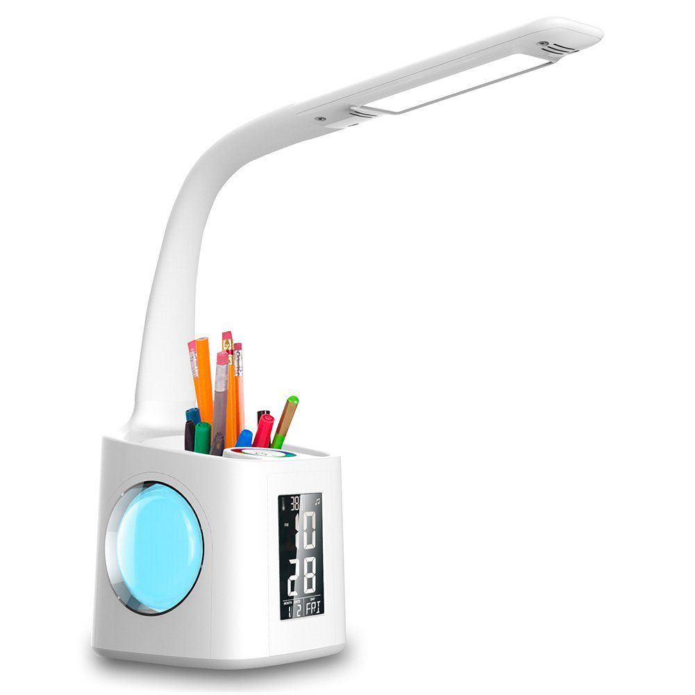 American plug led desk lamp with usb charging port&screen&calendar&color night light, kids dimmable led table lamp with pen ho
