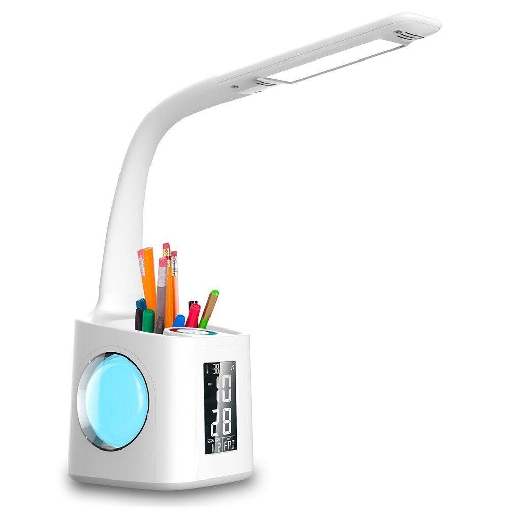 Enchufe americano llevó la lámpara de escritorio con puerto de carga usb y pantalla y calendario y night light color, niños dimmable led lámpara de mesa con la pluma ho