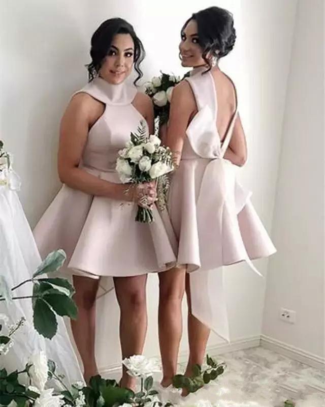 2019 demoiselles d'honneur robes pas cher Satin licou dos nu courte robe de soirée de mariage grand arc dos de demoiselle d'honneur robes