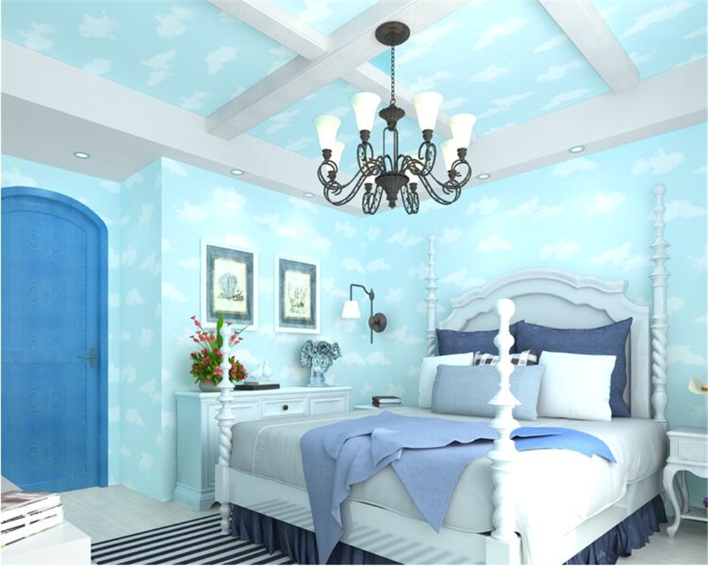 beibehang Blue sky white clouds children princess girl room boy 3d wallpaper simple blue environmental nonwovens wall paper beibehang wallpaper high grade environmental protection non woven wallpaper girl boy room room striped wall paper car children