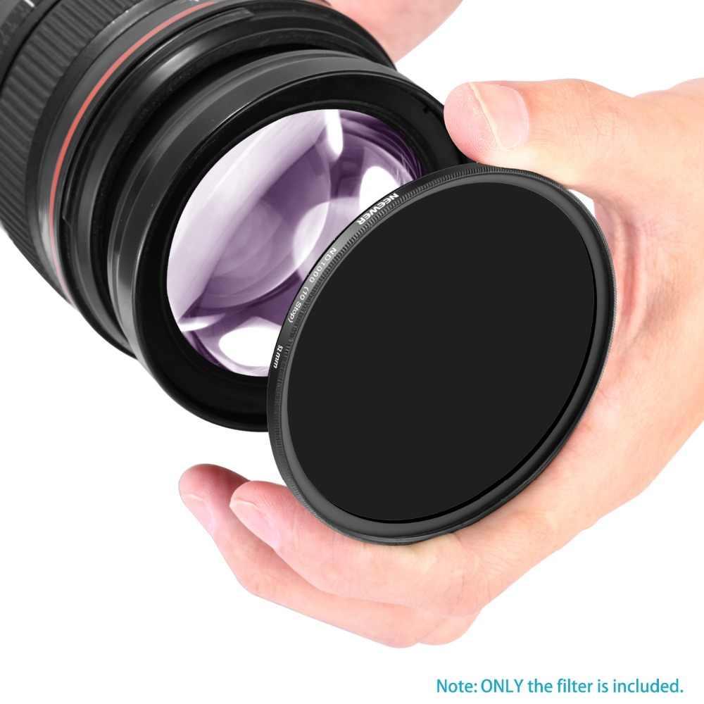 Neewer Slim 52mm/55mm/58mm/67mm/72mm/77mm Neutral ND 1000 ตัวกรองเลนส์กล้องสำหรับ Nikon D3300 D3200 D3100 D5000 D5100