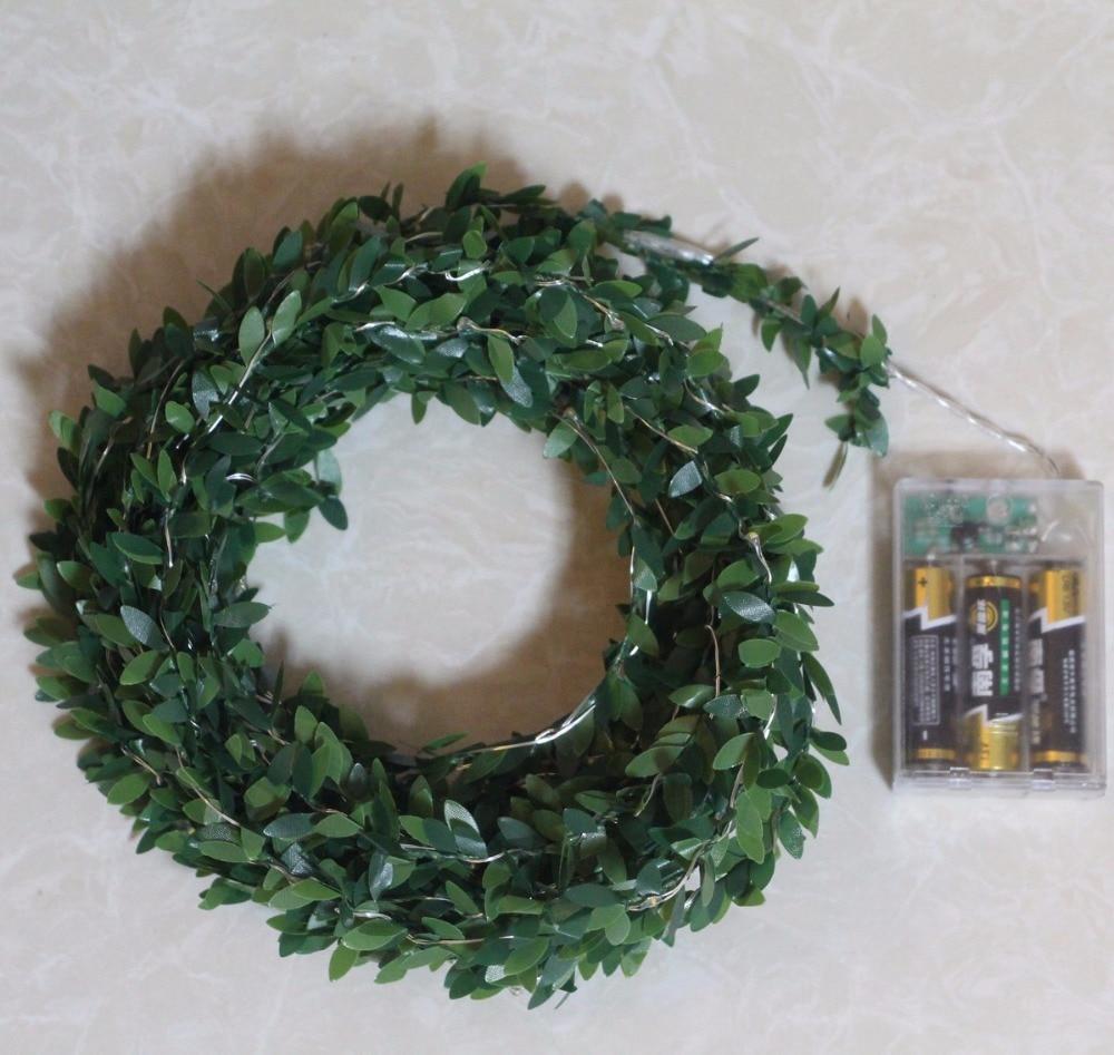 2M 5M 10M ledet bladkrans batteri streng fe christmas lys for ferie - Ferie belysning - Bilde 3