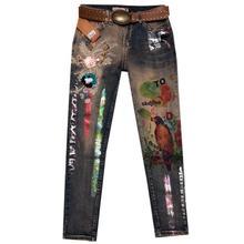Повседневные джинсовые узкие брюки женские джинсовые брюки-карандаш с бронзовым рисунком джинсы джинсовые брюки размера плюс